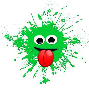 grüner Klecks steckt Zunge raus