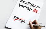 Bremer Koalitionsvertrag auf dem das Wort Pflege durchgestrichen ist